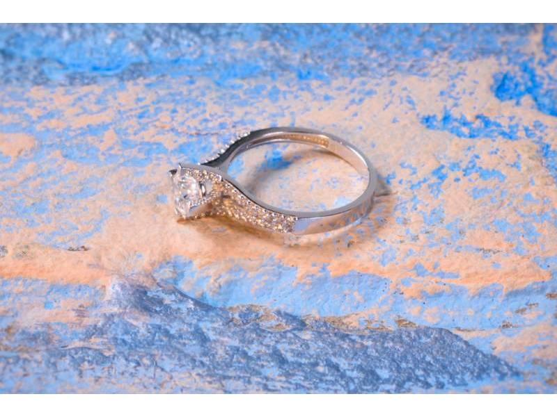 Bijuterii aur online - Inel de logodna dama aur 14K alb