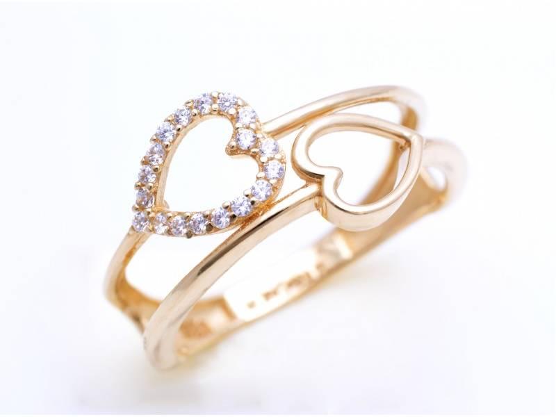 Inel din aur 14k inimioare