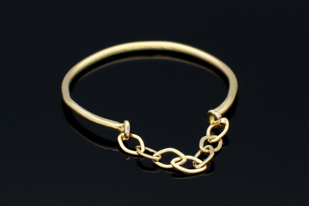 Inel din aur galben 14K cu lant - orice marime