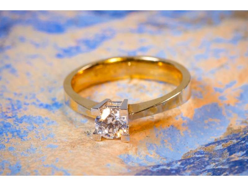 Inele de logodna dama aur 14K alb si galben
