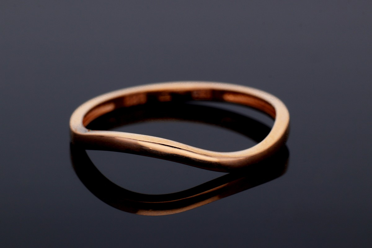 Bijuterii aur online - Inele dama din aur 14K roz minimalist waves