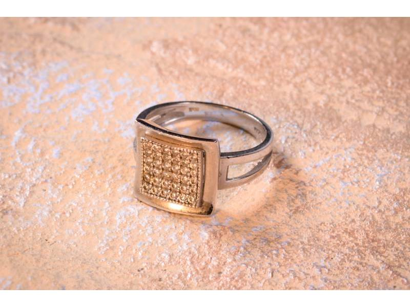 Bijuterii din aur - Inel din aur 14K alb cu zirconii