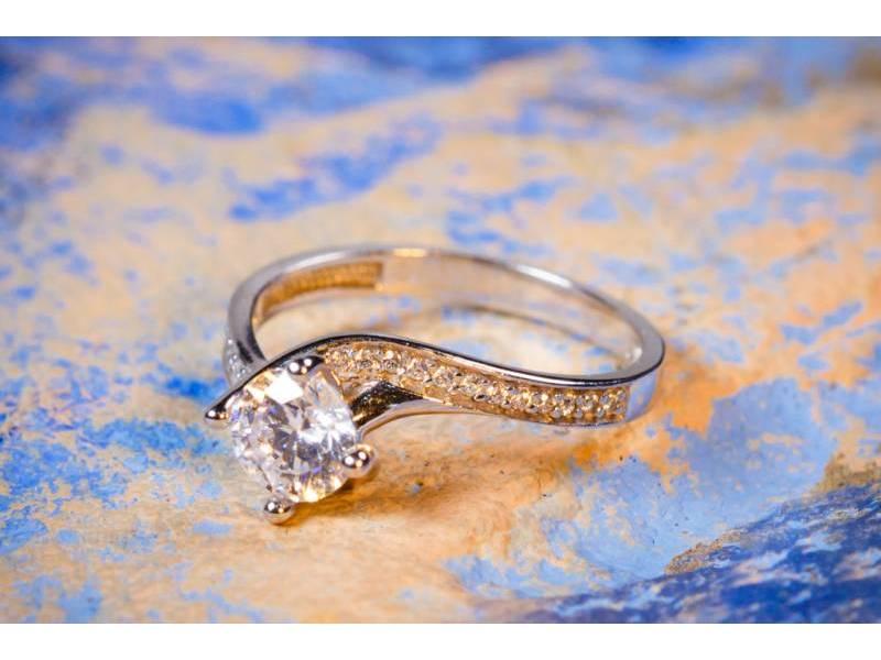 Inele de logodna aur alb 14K