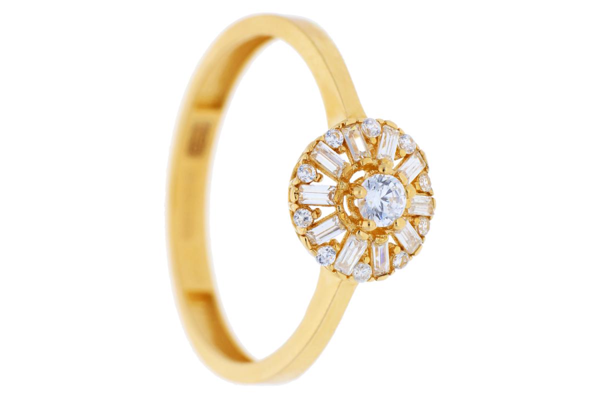 Inel din aur 14K galben cu pietricele