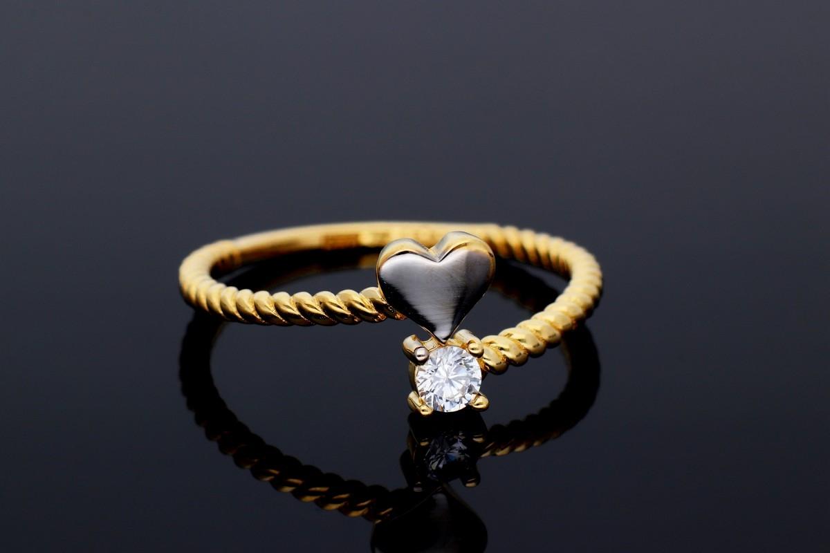 Inele aur 14K alb si galben inimioara zirconia