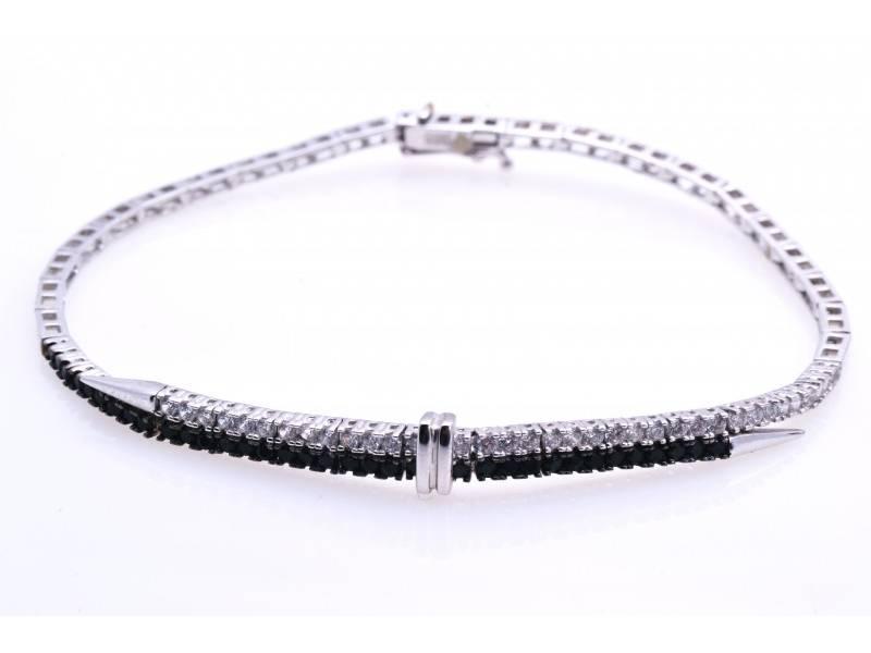 Set bijuterii aur alb 14K zirconia albe si negre