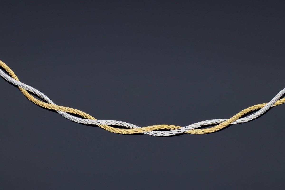 Lantisoare din aur 14K alb si galben semirigid tip colan