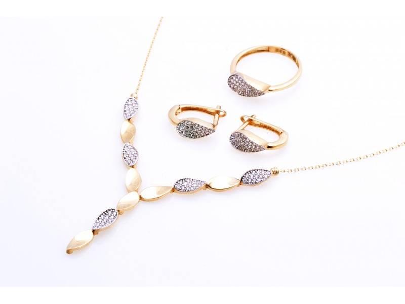 Set lant cercei inel aur 14K bijuterii dama