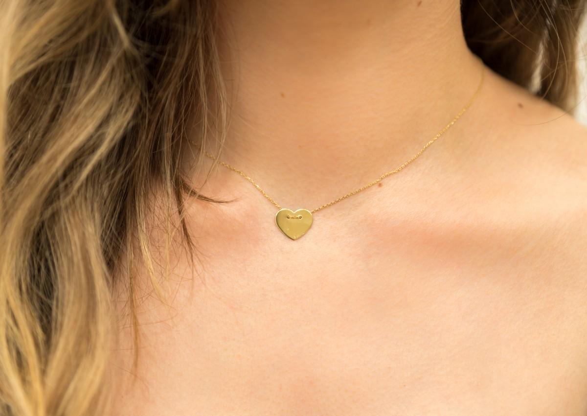 Lantisoare cu pandantiv din aur 14K galben inimioara gravabila