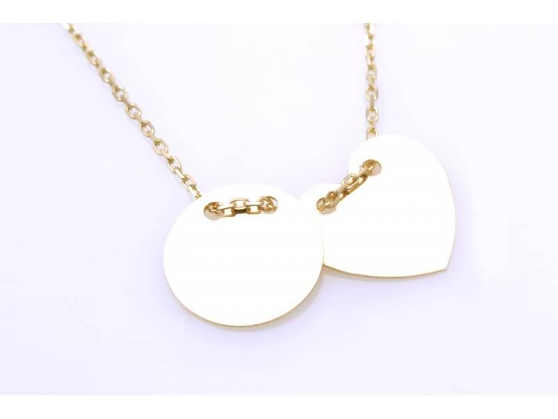 Lant cu pandant aur 14k bijuterii banut si inimioara