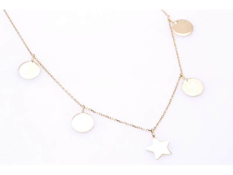 Lant cu pandant aur 14k bijuterii banuti cu steluta