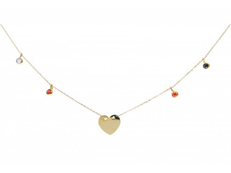Lant cu pandant aur 14k bijuterii inimioara gravabila