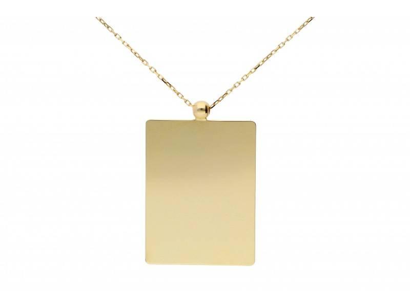 Lant cu pandant aur 14k bijuterii placuta dreptunghi
