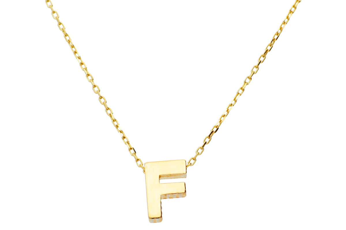 Lantisor cu initiala aur 14K galben F