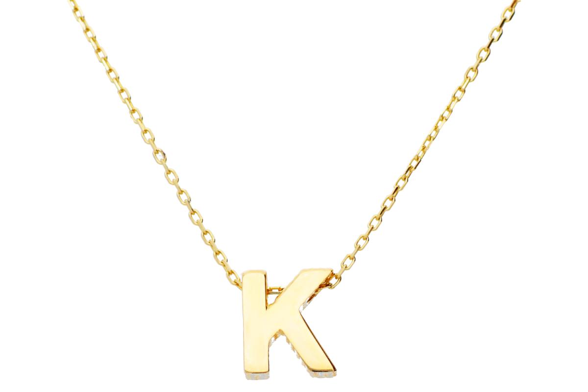 Lantisor cu initiala dama din aur 14K galben K
