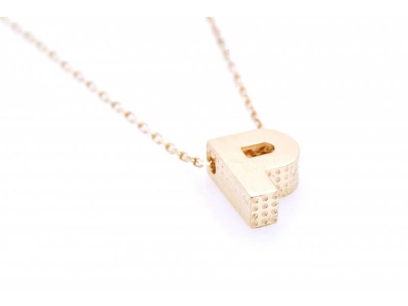 Bijuterii aur - Lantisoare cu initiala dama aur 14K galben P