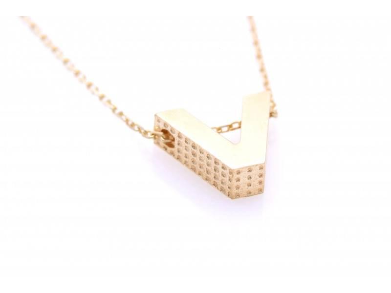 Lantisor cu initiala dama aur 14K galben V