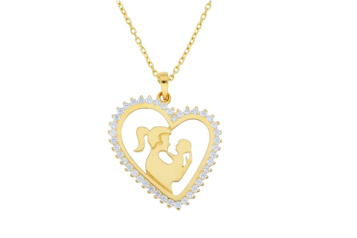 Bijuterii aur online - Lantisor cu pandantiv dama din aur 14K galben mama si copilul