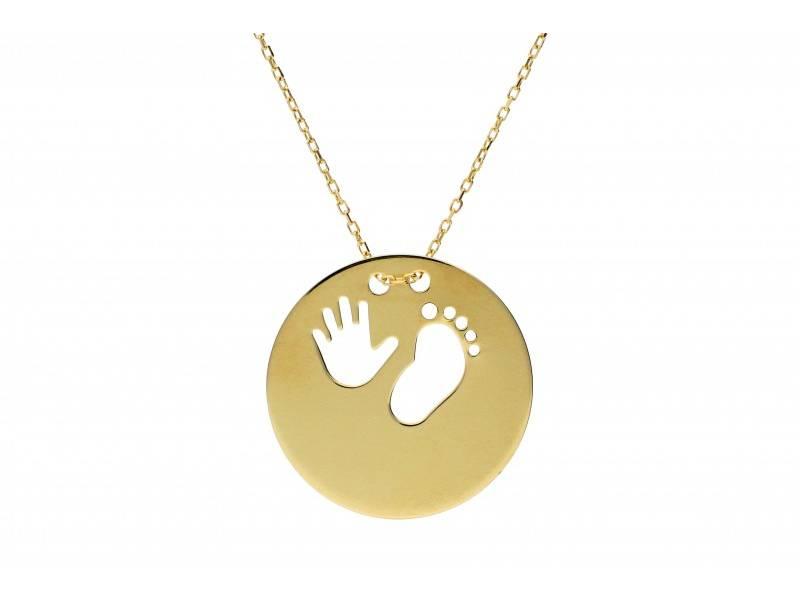 Bijuterii din aur - Lantisoare cu pandantiv aur 14K galben placuta piciorus si manuta bebe