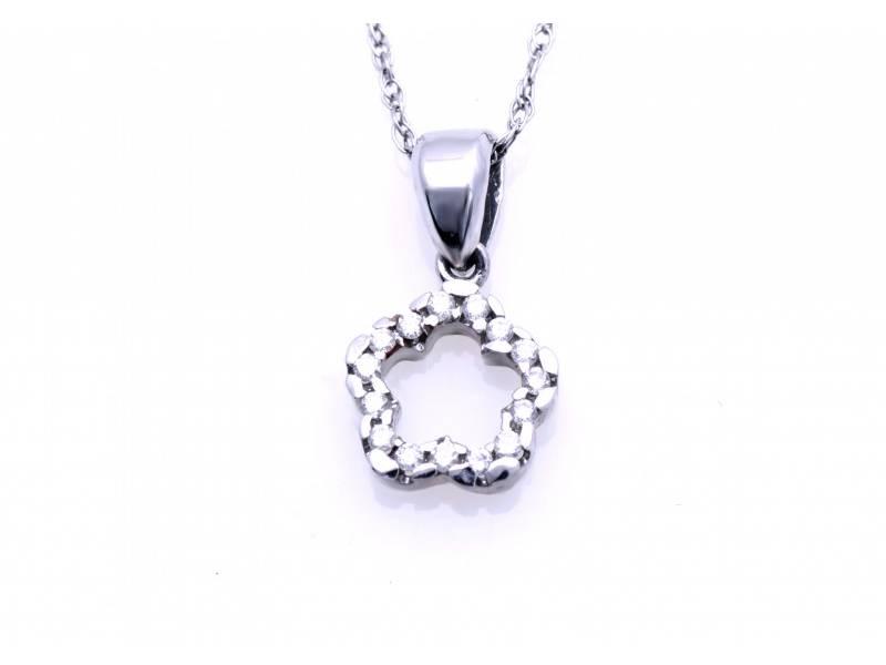 Lant cu pandant aur 18K alb cu diamant