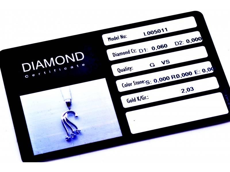 Lant cu pandant aur alb 18K diamante