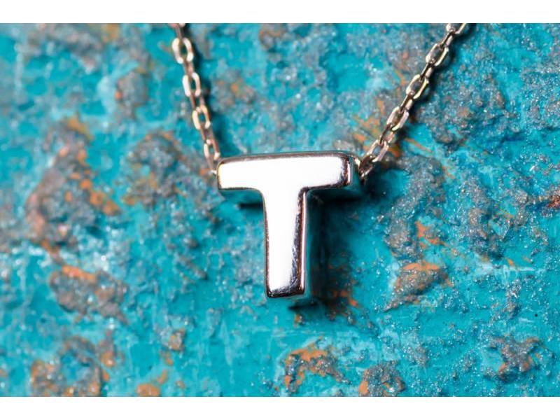 Lant cu pandant bijuterii aur 14K initiala T