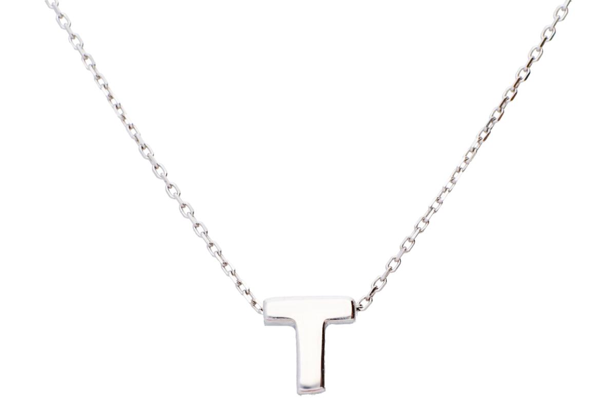 Bijuterii aur - Lantisoare cu initiala dama aur 14K alb initiala T