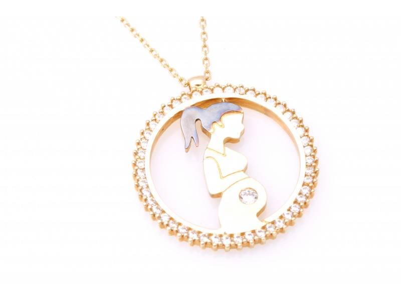 Lant cu pandant cadouri bijuterii cu zirconii mama