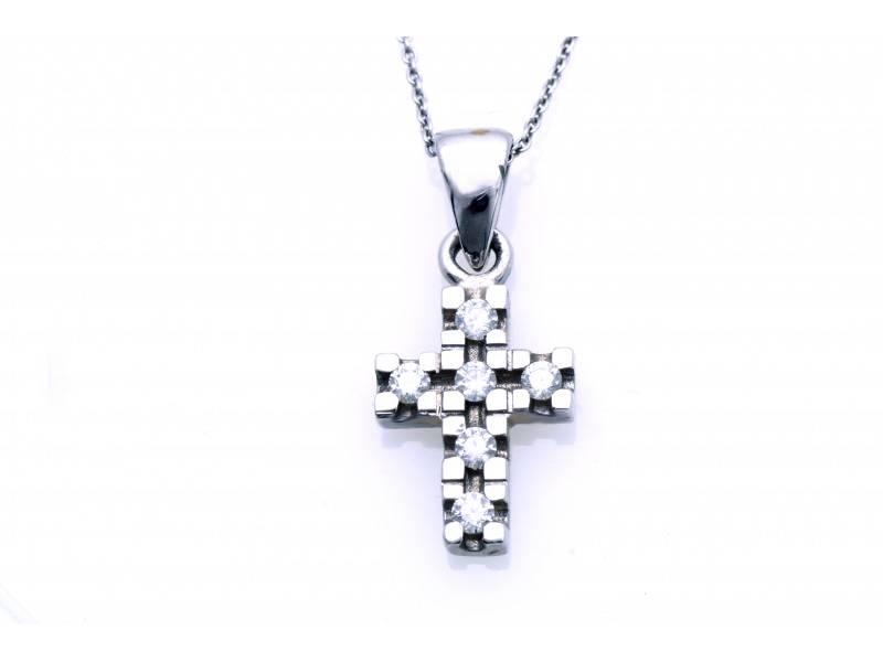 Lant cu pandant cruce aur alb 18K diamante