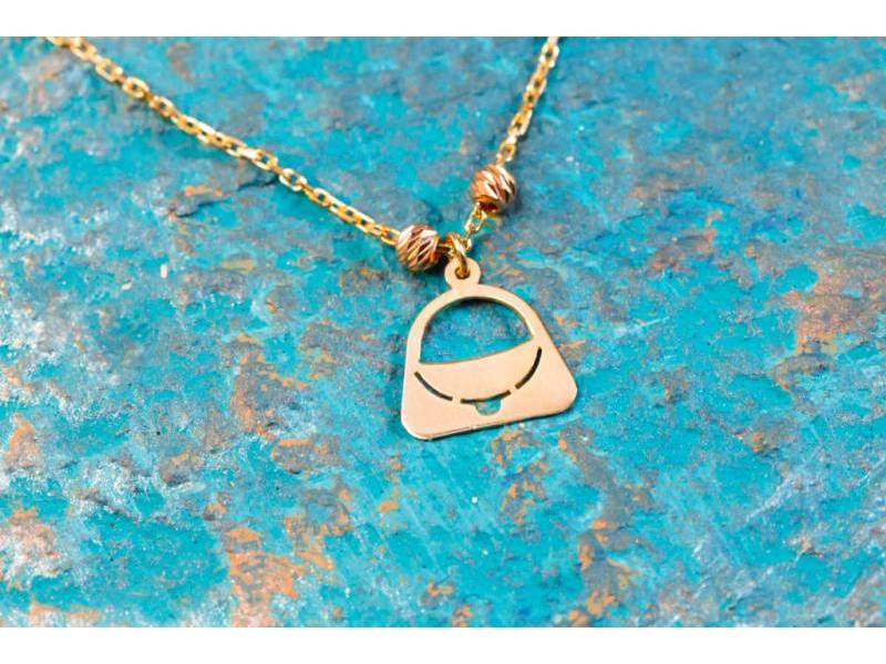Lant cu pandant poseta bijuterii aur 14 k