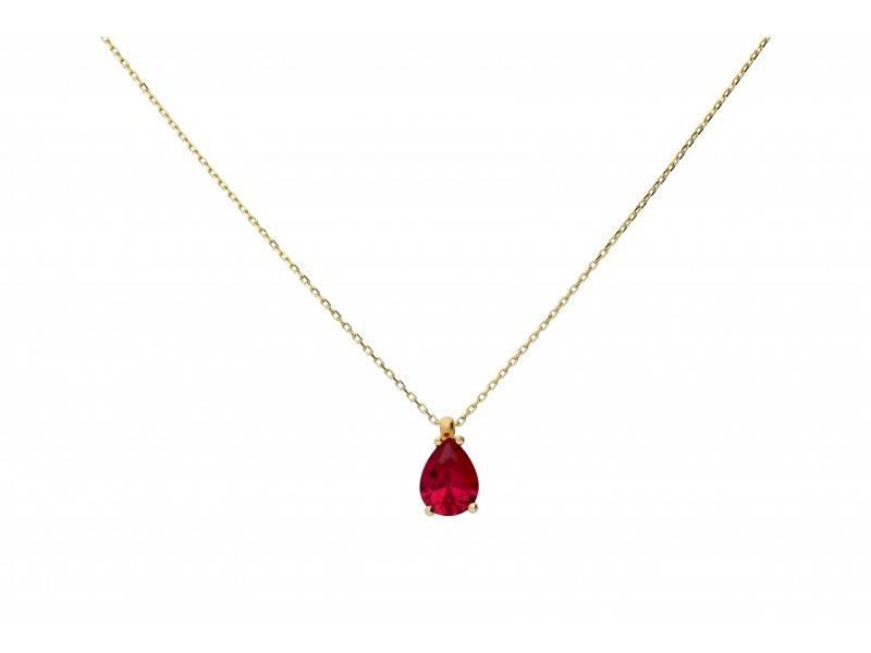 Lant cu pandantiv aur 14K zirconia rubin