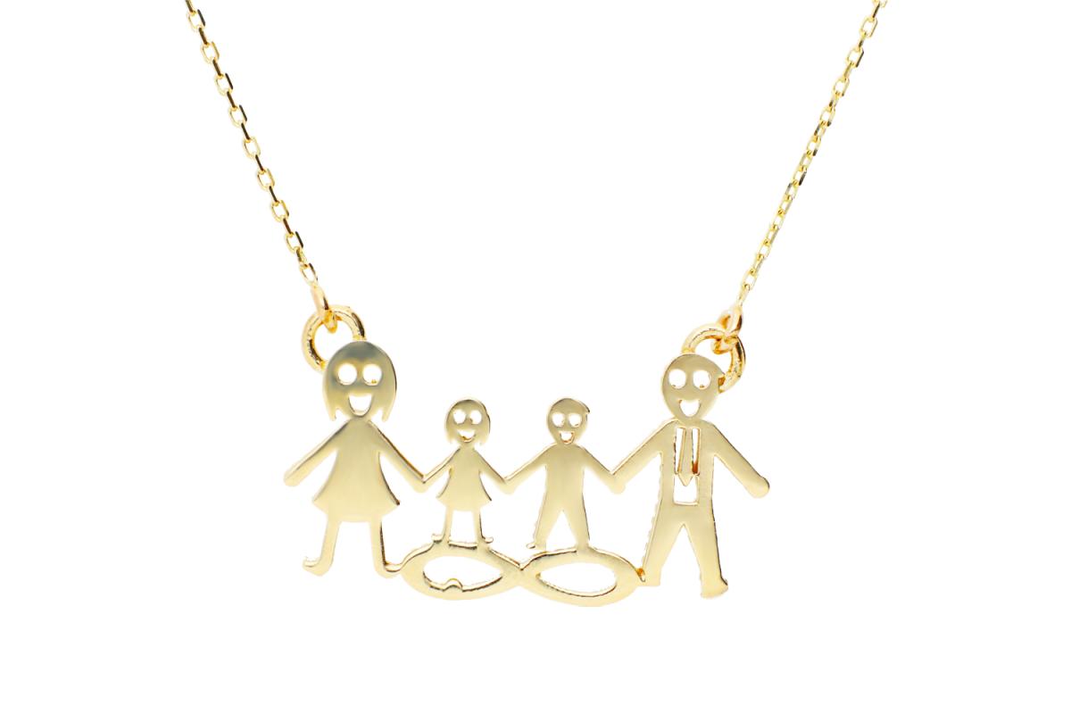 Lantisor cu pandantiv dama aur 14K galben familie fetita si baietel