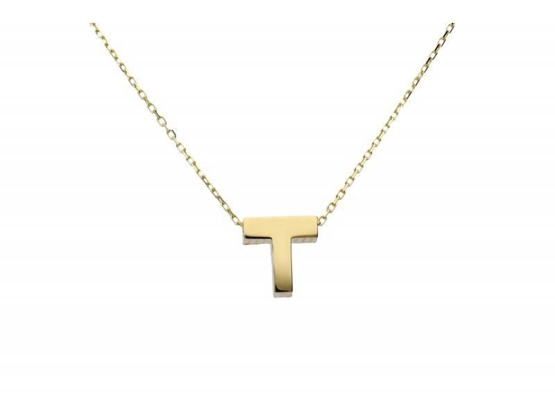 Bijuterii aur online - Lantisoare dama din aur 14K galben initiala T