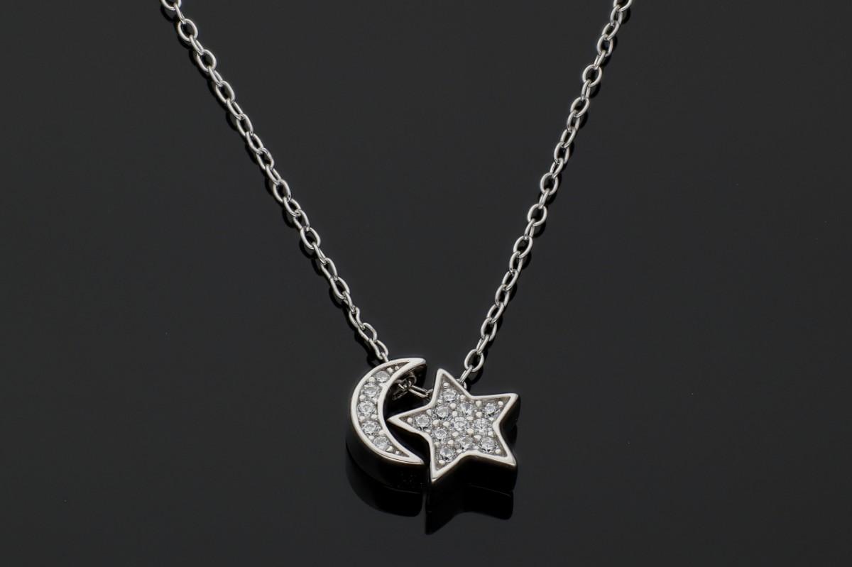 Lant cu pandantive luna stea bijuterii argint