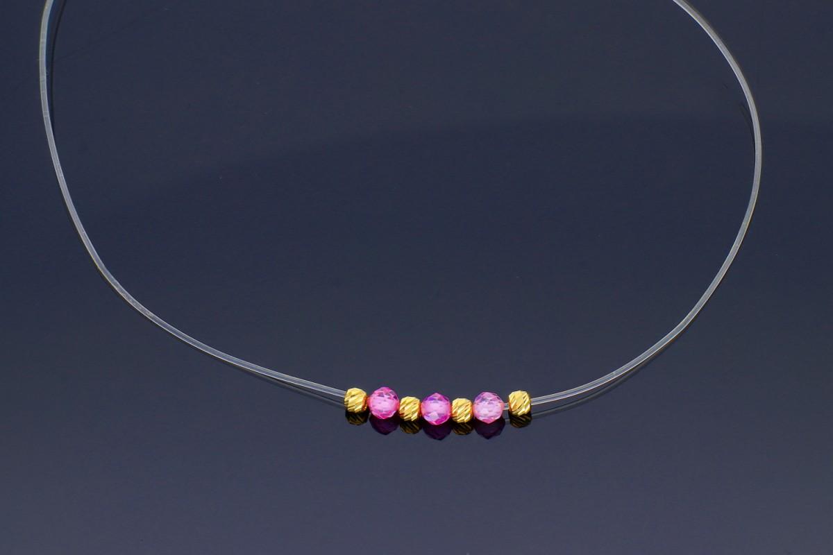 Lantisoare cu pandantiv aur 14K galben silicon pietricele roz