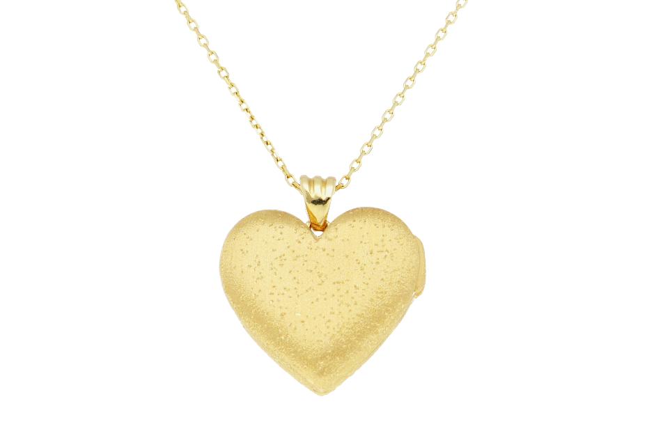 Lantisoare cu pandantiv caseta foto inimioara satinata din aur 14K galben