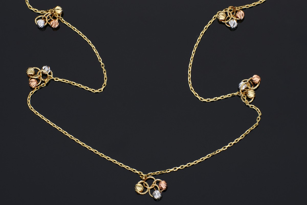 Lantisoare cu pandantiv dama aur 14K galben, alb si roz bilute