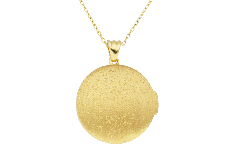 Lantisoare cu pandantiv dama caseta foto satinata din aur 14K galben