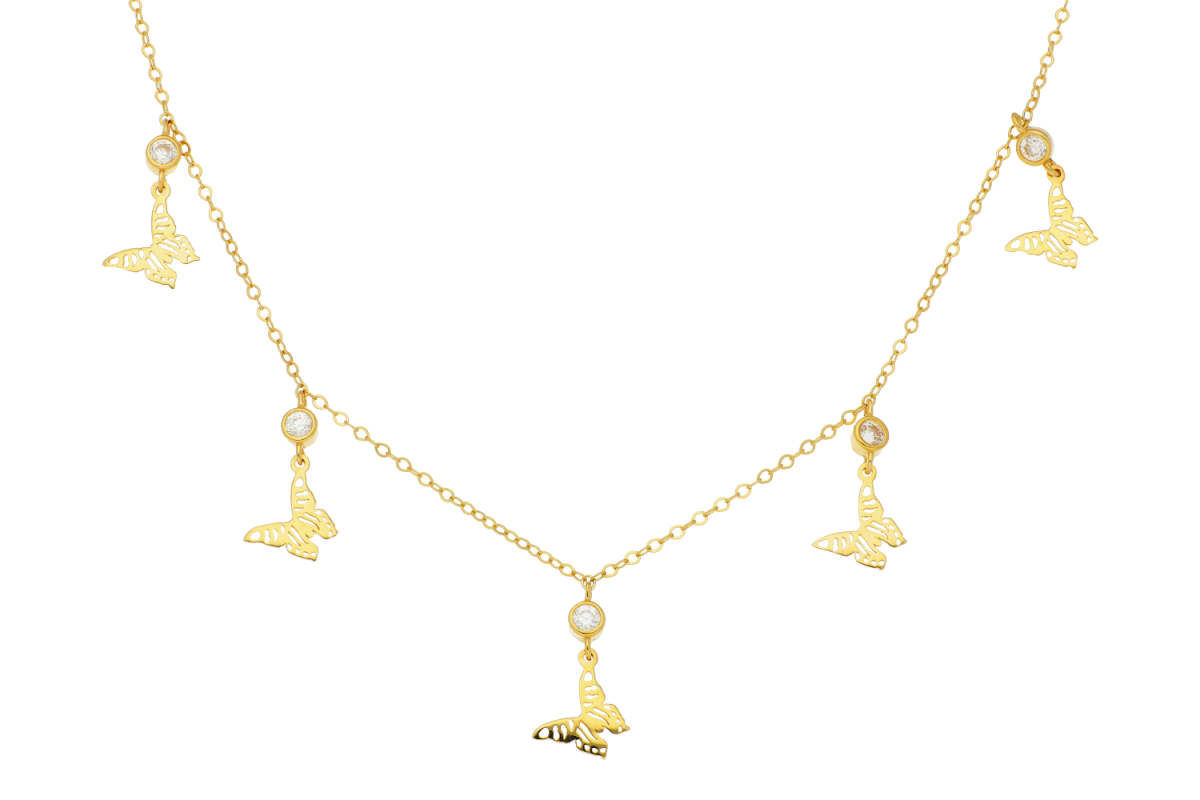 Lantisoare cu pandantiv dama din aur 14K galben 5 fluturasi