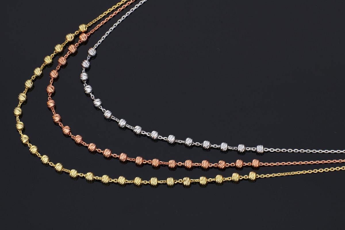 Lantisor cu bilute din aur 14K galben, alb si roz