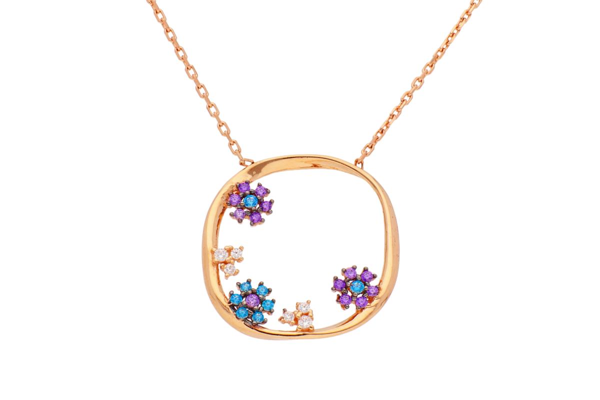 Lantisor cu pandantiv aur 14K roz cu zirconii colorate
