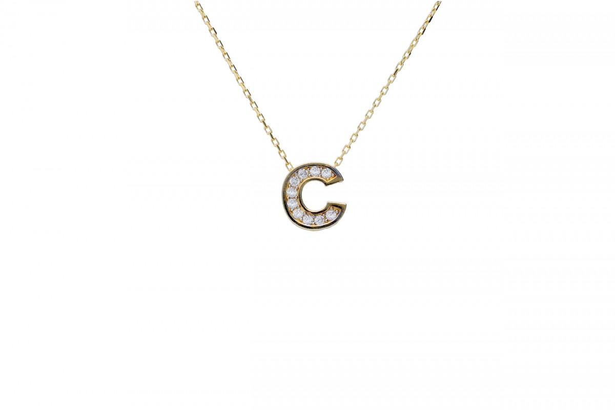 Bijuterii aur online - Lantisoare cu initiala G aur 14K galben