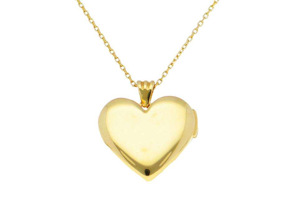 Lantisor cu pandantiv caseta foto inimioara gravabila din aur 14K galben