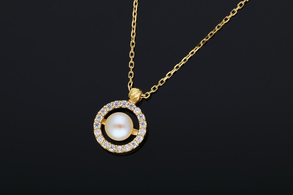 Lantisor cu perla si zirconii aur 14K galben