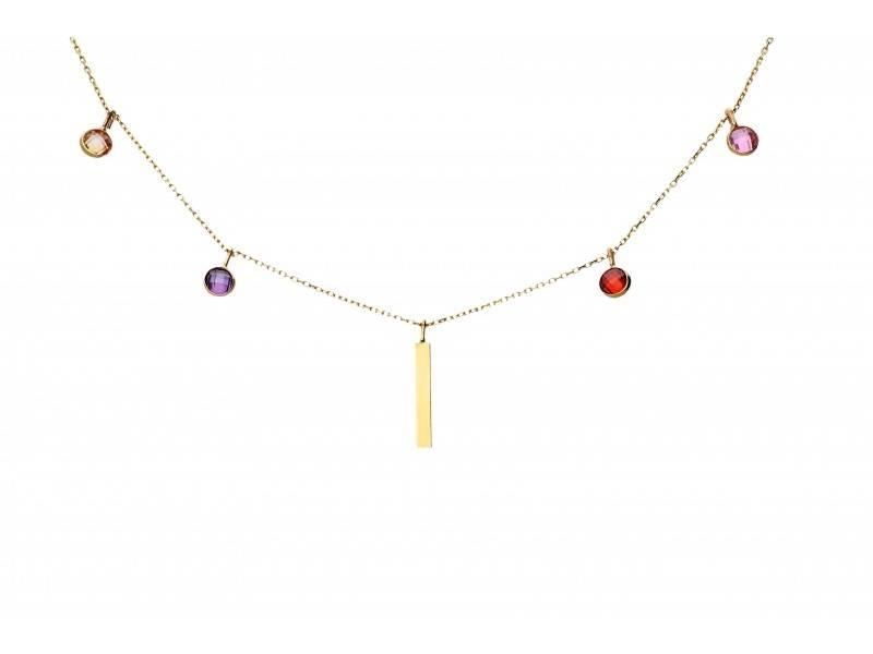 Lanturi aur 14K cu pandantiv placuta zirconii colorate