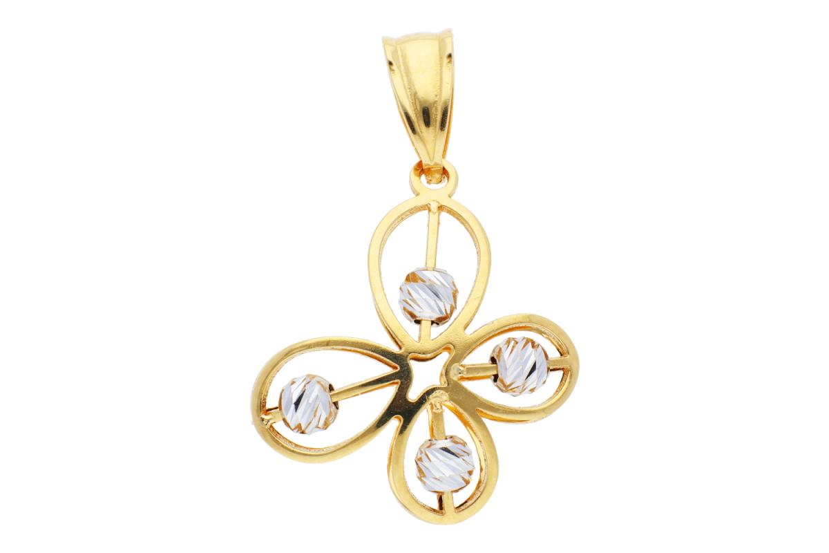 Medalioane dama din aur 14K galben si alb fluturas