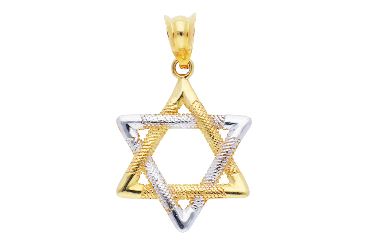 Medalioane dama steaua lui David aur 14K galben si alb