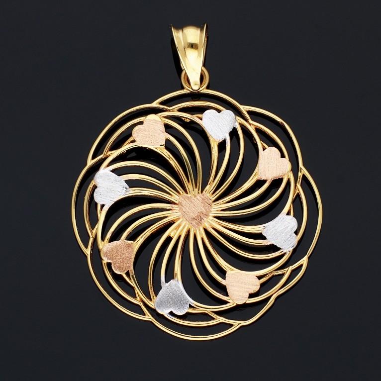 Medalioane din aur 14K inimioare galben, alb si roz