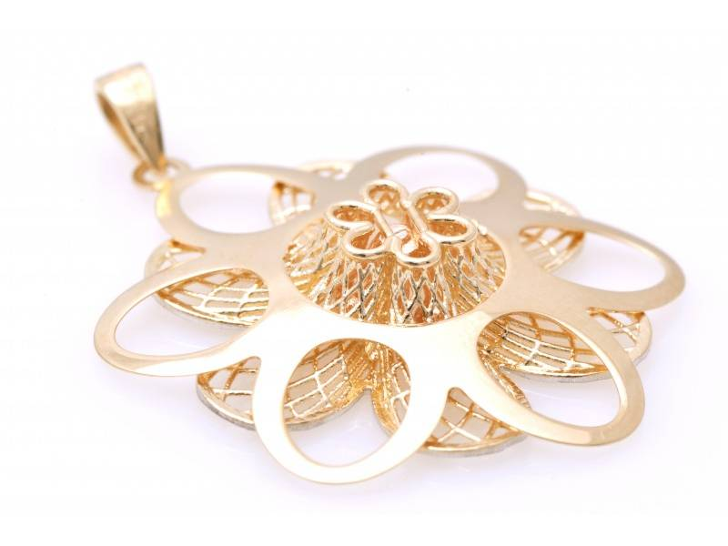 Bijuterii aur online - Pandantive din aur 14K alb, galben si roz floricica