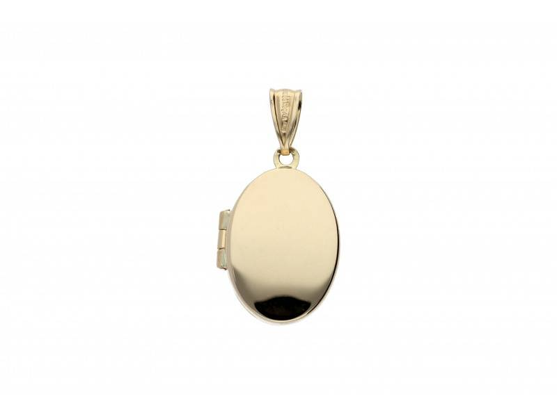 Medalion caseta foto ovala aur 14K gravabila